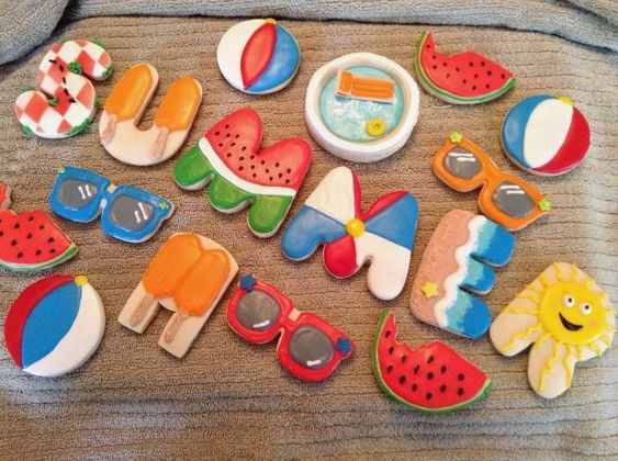 Image result for summer decorated cookies