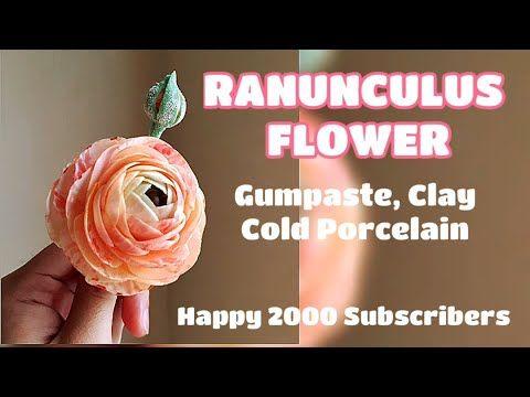 Ranunculus Flower Gumpaste Happy 2000 Subscribers Vlog 24 By Marckevinstyle Youtube In 2020 Gum Paste Gum Paste Flowers Fondant Tutorial