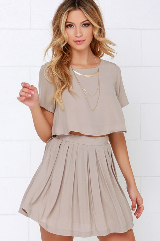 One and the Same Beige Two-Piece Dress