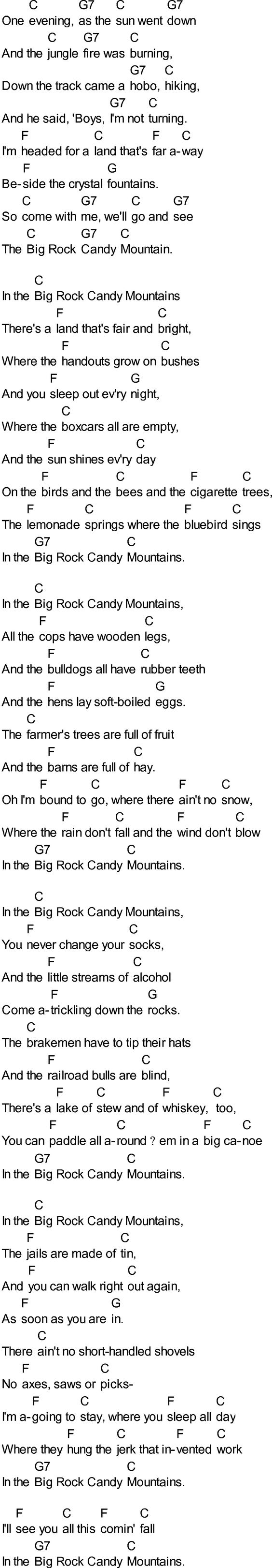 BURL IVES - THE BIG ROCK CANDY MOUNTAIN LYRICS