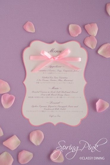 Menu Card-Spring Pink メニューカード