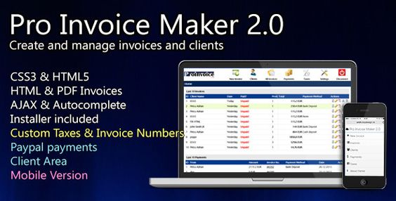 Delightful Pro Invoice Maker   Smart Invoicing System | Code Scripts And Plugins |  Pinterest | Custom Logos And Logos  Custom Invoice Maker