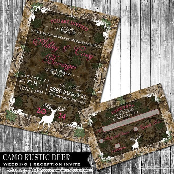 Camo Wedding Ideas Rustic Barn: Camo Wedding Invitation And RSVP Set Rustic Wedding