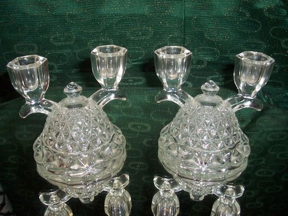 Pair Of Vintage Cut Glass Candle Holders
