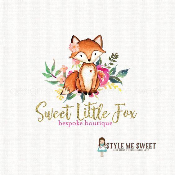 fox logo design watercolor logo flower logo by stylemesweetdesign