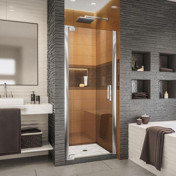 DreamLine Elegance-LS 25-1/4 in. to 27-1/4 in. W x 72 in. H Frameless Pivot Shower Door in Chrome