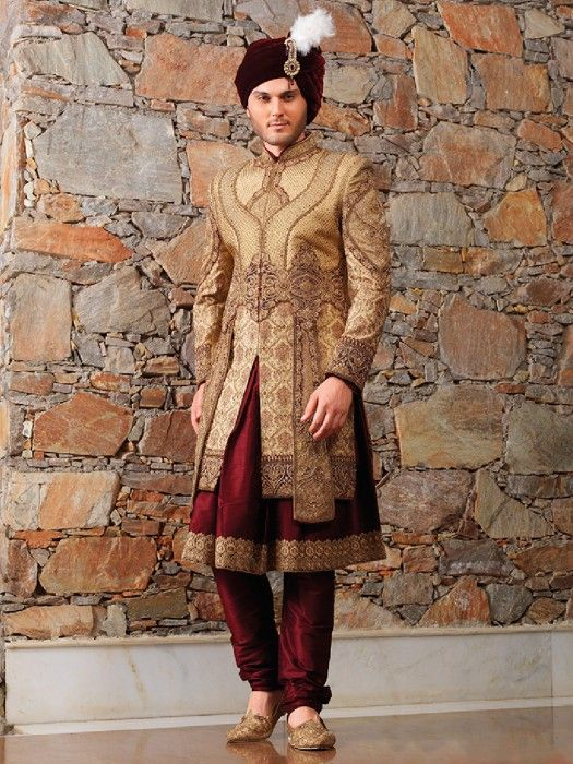 Golden Maroon Designer Wedding Wear Sherwani Latest Designer Men Golden Sherwani Designer Gold With Images Sherwani For Men Wedding Indian Groom Dress Indian Groom Wear