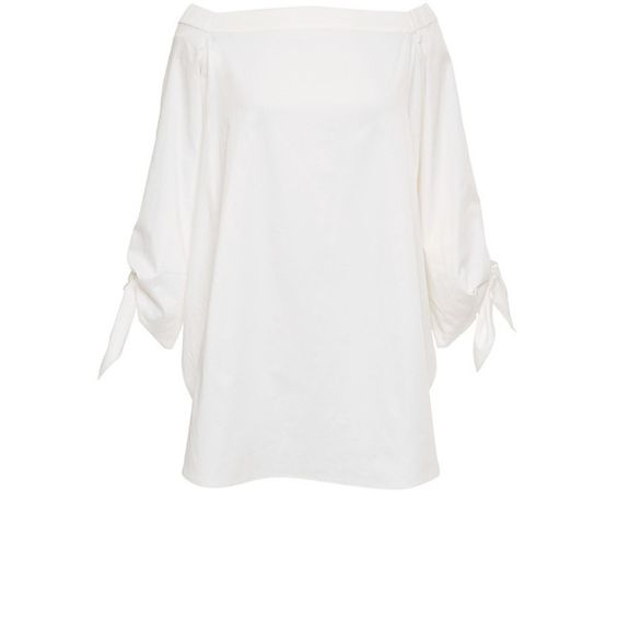 Tibi Satin Poplin Off Shoulder Tunic In White ($295) ❤ liked on Polyvore featuring tops, tunics, loose tops, loose fitting tops, tie top, off shoulder tunic and white satin top