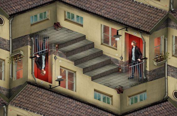 "8 Mind Bending Optical Illusions by Erik Johansson,""Reverse opposites"". Image Courtesy"