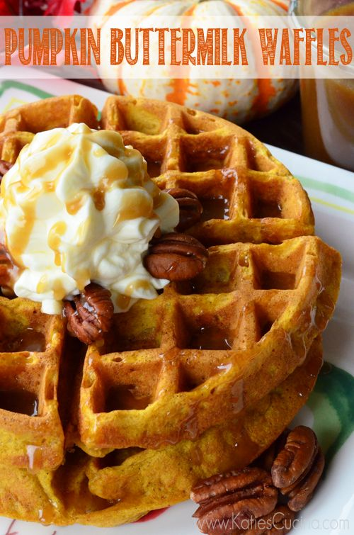 Pumpkin Buttermilk Waffles using @Charity Scantlebury Scantlebury Warden Waffle Baker from KatiesCucina.com