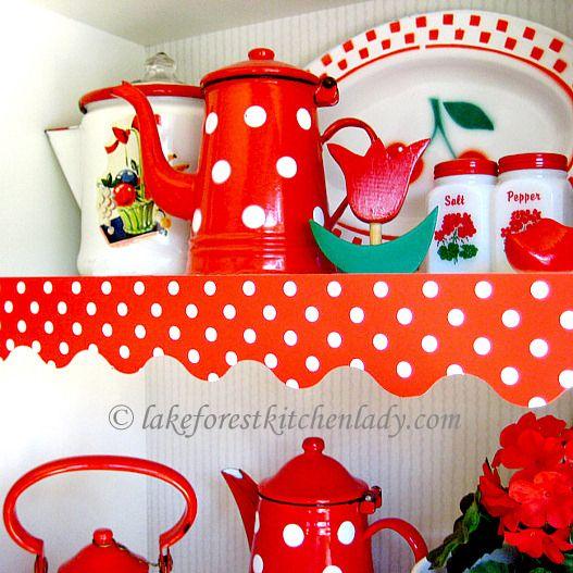 Kitchen Shelf Edging: 50s Vintage Look Cherry Red Polka Dot Shelf Paper Edge