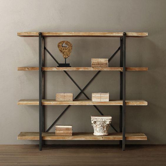 Biblioth que en bois et fer yan pinterest biblioth ques et coles - Bibliotheque en bois brut ...
