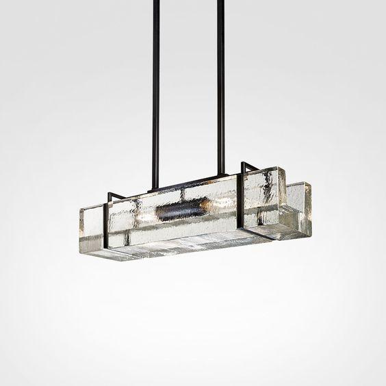 Luminária Trough Light Alison Berger Glassworks Brown Black Sterling Patina encerado manualmente. Cúpula de vidro transparente