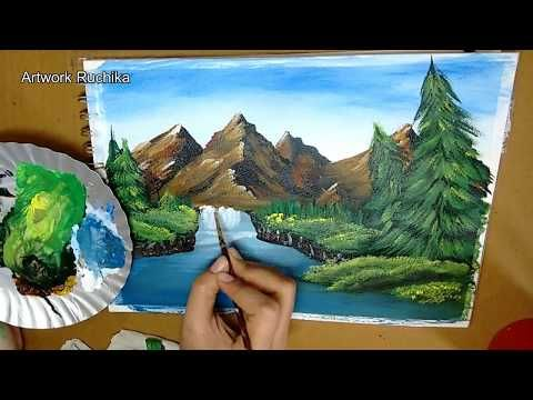 Nature Scenery With Mountain Simple Landscape Acrylic Painting Youtube Painting Acrylic Painting Acrylic Painting Artworks