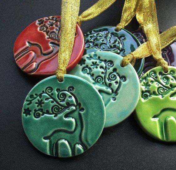 Set of six deer ceramic Christmas decorations £15.00