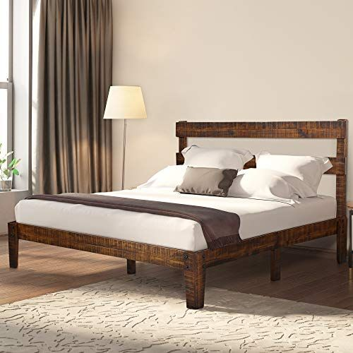 Ecos Living 12 Inch High Rustic Solid Wood Platform Bed Frame With Headboard No Box Spring No Wood Platform Bed Frame Solid Wood Platform Bed Wood Platform Bed
