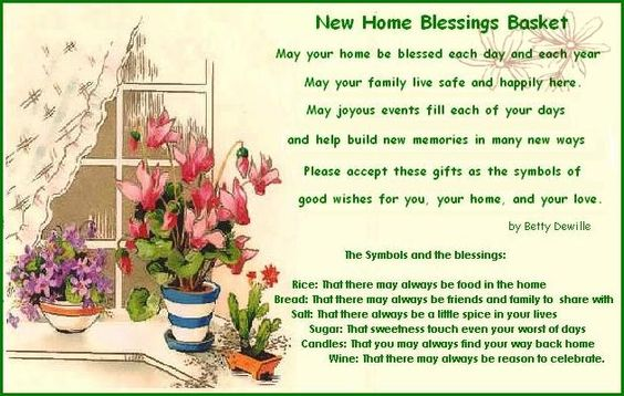 New home blessings basket with printable poem and what to What is house warming