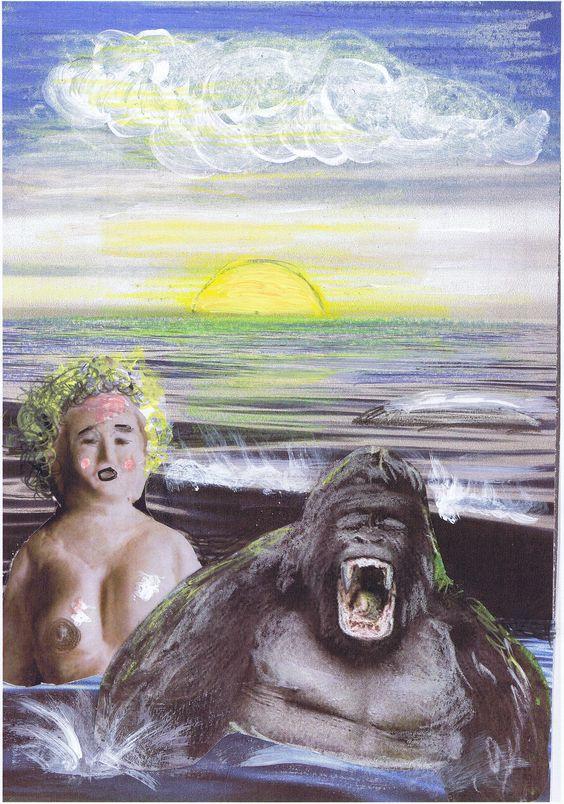 Ende einer planlosen Flucht. Statue Galatea und der Affenmann kentern mitten im Meer.