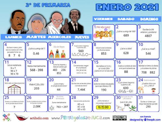 Calendario Tercero ABN – Enero 2021