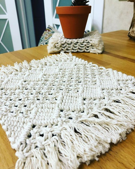 Macrame Placemat, Modern Macrame Coasters, Kitchen Placemats, Bohemian Wedding Centerpiece, Boho Macrame Cotton Fringes Napkins, Hygge Decor