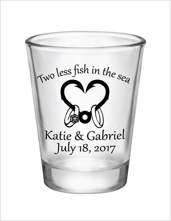 Wedding Favors Shot Glasses Two less fish in the Sea by Factory21