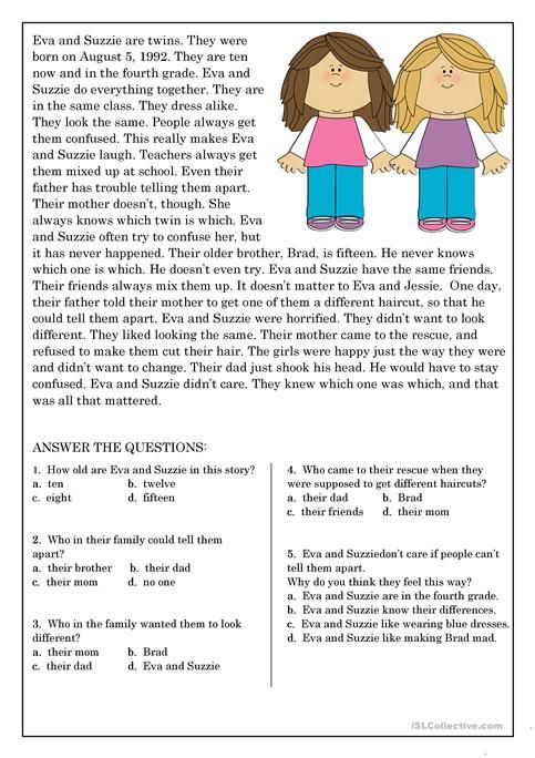 Image result for reading comprehension grade 2 on family and ...