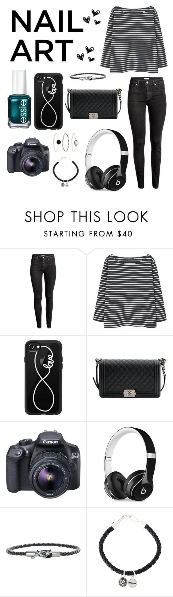 """😍"" by coreycoos ❤ liked on Polyvore featuring Essie, H&M, MANGO, Casetify, Chanel, Eos, Beats by Dr. Dre, Bottega Veneta, Diesel and Accessorize"
