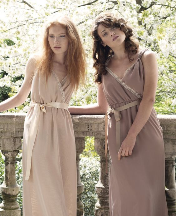 Vintage Wedding Dresses Brighton: Chiffon And Lace Bridesmaid Gown, Nude And Dusky