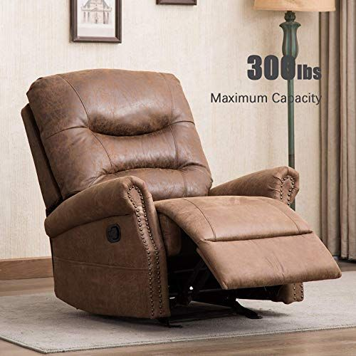 Amazing Offer On Anj Rocker Recliner Chair Breathable Bonded Leather Classic Retro Design 1 Seat Sofa Manual Recliner Chair Overstuffed Arms Back Nut Brow Rocker Recliner Chair Manual Recliner Chair Recliner Chair
