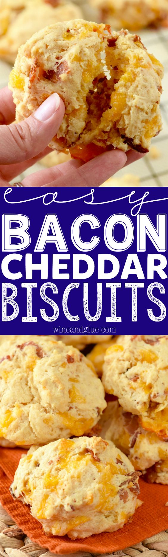 """These Easy Bacon Cheddar Biscuits are so easy that you can perfectly throw them together right before serving your meal!"" via Wine & Glue - The Best Homemade Biscuits Recipes - Quick, Easy and Delicious Bread Sides for Breakfast, Brunch, Lunch and Family Dinner! #biscuits #biscuitrecipes #homemdebiscuits #easybiscuits #rolls #homemadebreadsides #bread #breakfastrecipes #comfortfood"