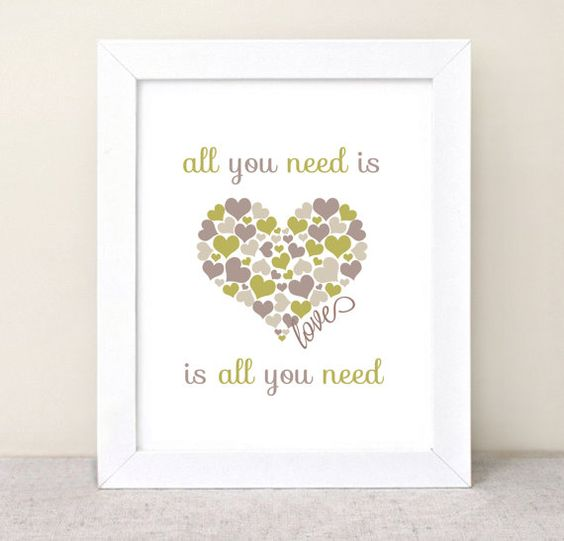 All You Need is Love, Love is All You Need Quote  - Typography Poster - Quote Print - Typographic Print - The Beatles Lyrics, hearts - 8x10