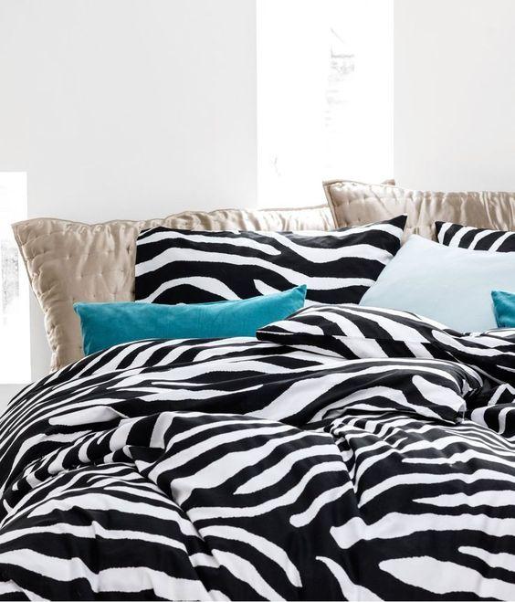 Duvet Cover and Sham Zebra Animal Prints Twin 2pcs Black and White Teen Bedding #ZebraDuvetCover #Contemporary