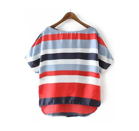 Blusa manga corta a rayas de colores