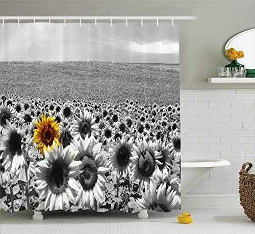 19 90 Ambesonne Field Of Black And White Sunflowers Shower