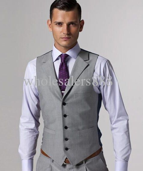 High quality Light gray Groom Tuxedos Groomsmen Best Man Men