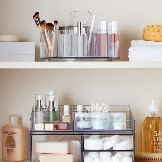 Idesign Clear Cosmetic Divided Spinner Caddy Bathroom Furniture Storage Bathroom Storage Bed Bath And Beyond