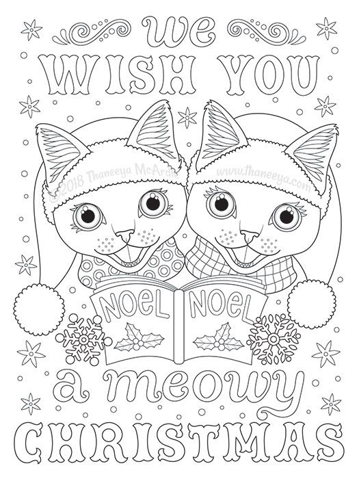 We Wish You A Meowy Christmas Coloring Page By Thaneeya Coloring Books Cat Coloring Page Christmas Coloring Pages