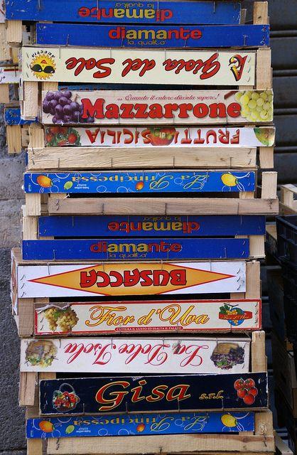 Acireale, Sicily, Italy - Piazza Marconi, (market, fruit crates)