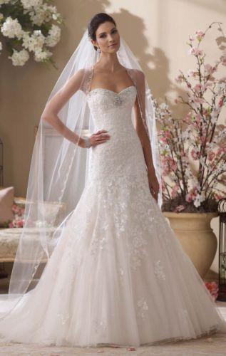 Hot white/ivory lace applique sweetheart wedding dress custom size 6+8+10+12+14+