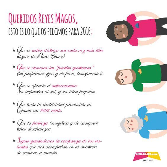Esta es nuestra carta a los Reyes :)  Para un  2016 lleno de energía verde #HolaLuz #Energía #Verde  #Pobrezaenergética #SinPuertasGiratorias