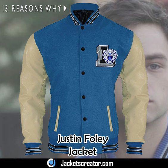 13 Reasons why Justin Foley Liberty High Tigers Letterman Varsity Jacket Lightweight Jackets
