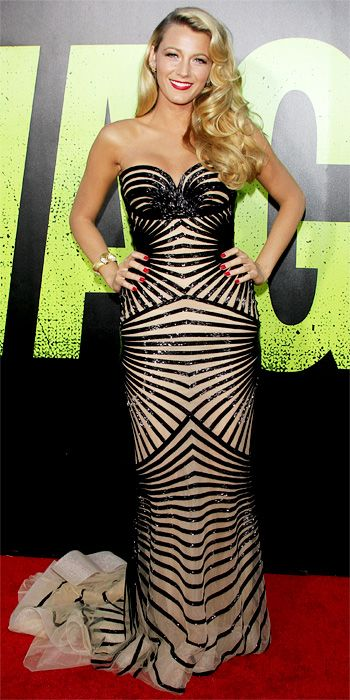 06/26/12: From a nearly-nude hue to its beaded contoured stripes, there was nothing not sexy about #BlakeLively's intricate gown. #lookoftheday http://www.instyle.com/instyle/lookoftheday