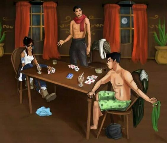Mako, Bolin, Korra playing strip poker