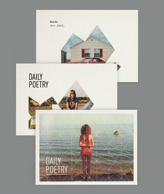 Daily Poetry - Clara Fernández: Graphic Design, Postcards Design, Promo Postcard, Design Graphic, Postcard Design Inspiration, Magazine Layout, Layout Design, Design Layout