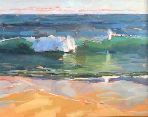 Daily Paintworks Aqua Break Original Fine Art For Sale C Deborah Newman Seascape Paintings Art Painting Abstract Art Painting