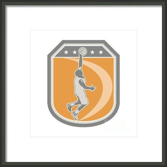 Basketball Player Rebounding Ball Shield Retro Framed Print By Aloysius Patrimonio