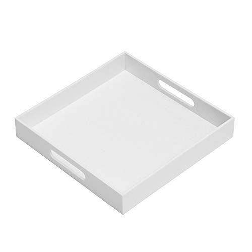 Glossy White Sturdy Acrylic Serving Tray With Handles 12x12inch Serving Coffee Appetize Acrylic Serving Trays Serving Trays With Handles Coffee Bars In Kitchen
