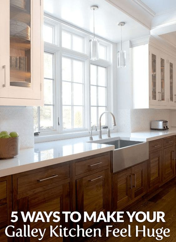 Wood cabinets cabinets and window on pinterest for Galley kitchen without upper cabinets