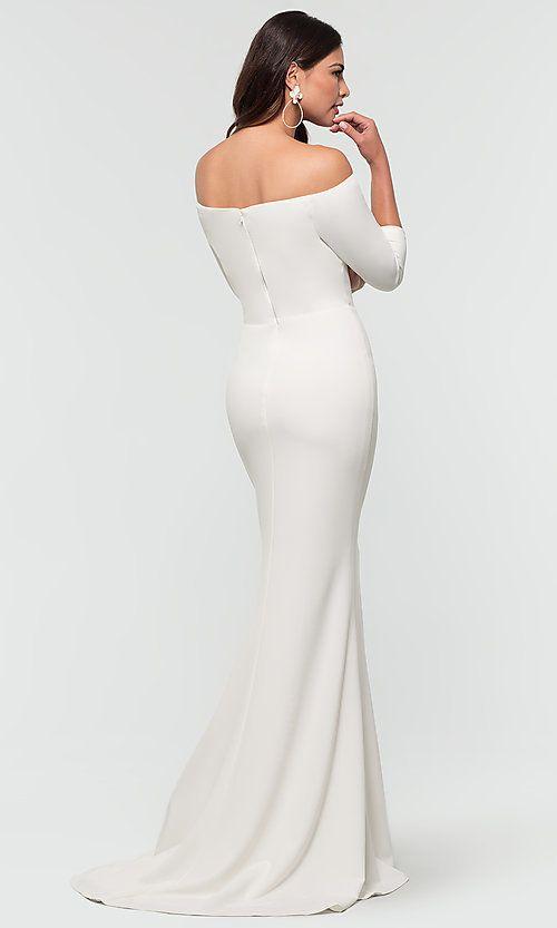 Long Off The Shoulder Kleinfeld Bridesmaid Dress White Bridesmaid Dresses Wedding Dress Long Sleeve Bridesmaid Dresses