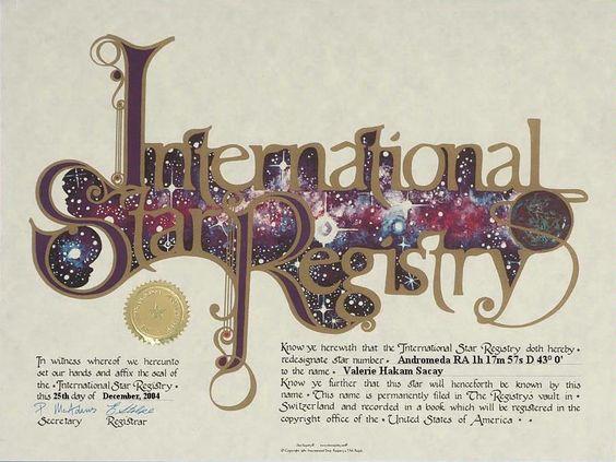 Valerie Hakam Sacay - Andromeda - Name a Star : Buy a Star : International Star Registry : Order@ starregistry.com